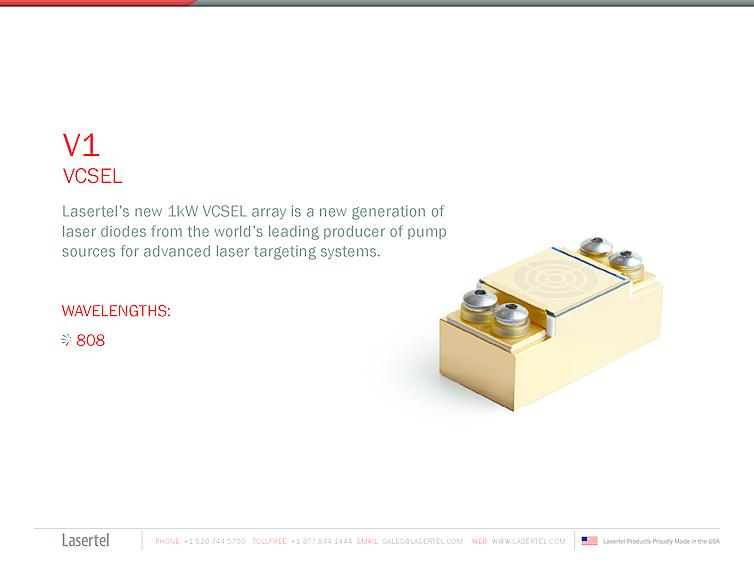VCSEL array, 1000W, 808nm, Lasertel