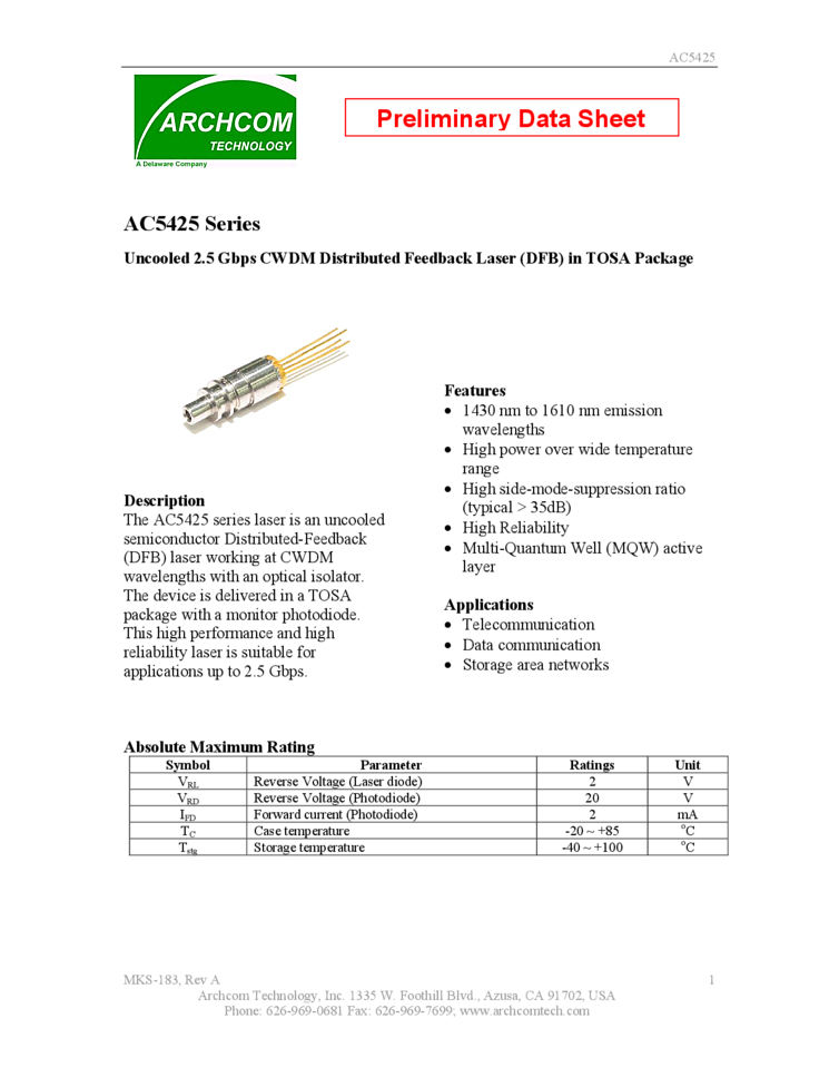 Dfb Laser Uncooled Tosa Package List Of Laser Diodes