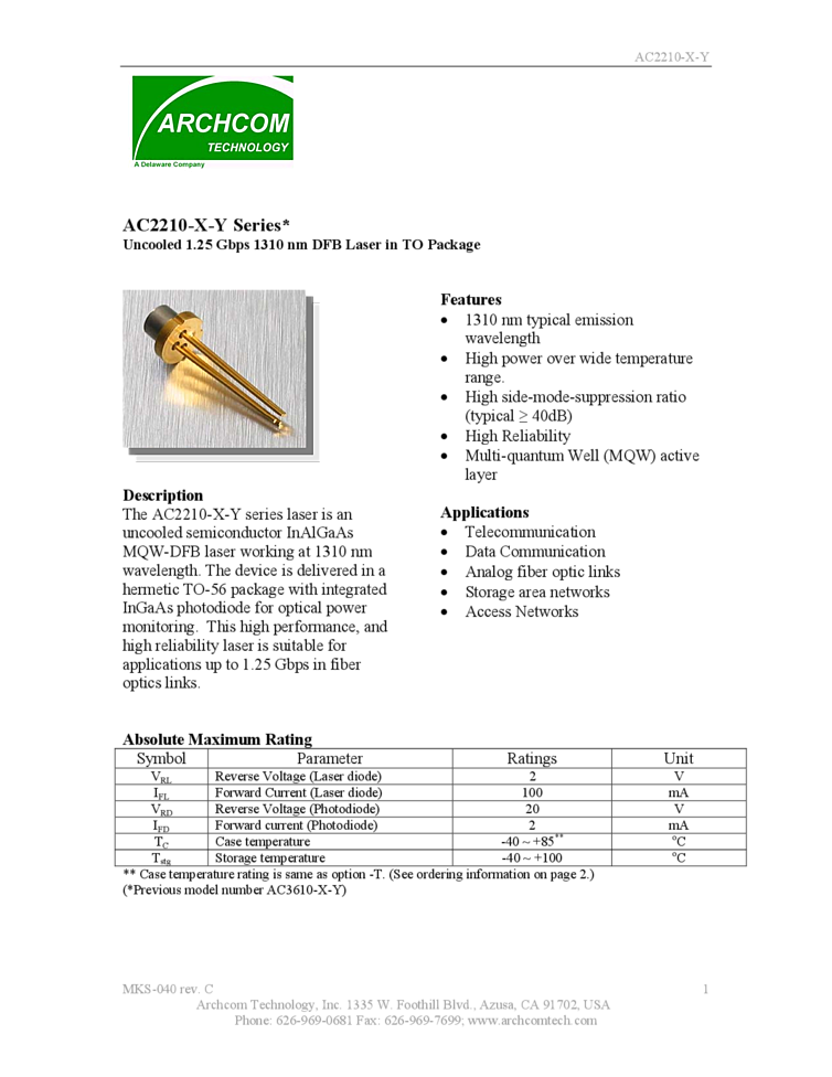 Diode Lasers For Telecommunication And Data Communication 1310nm