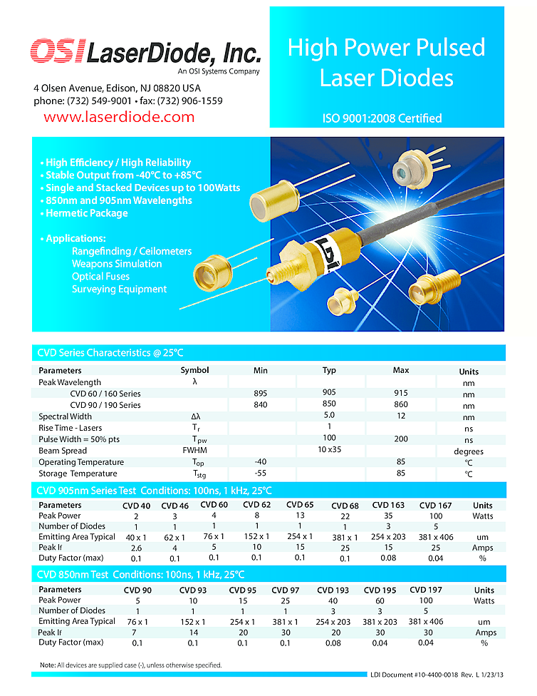 High Power Pulsed Laser 850nm 905nm 100w To Can Osi