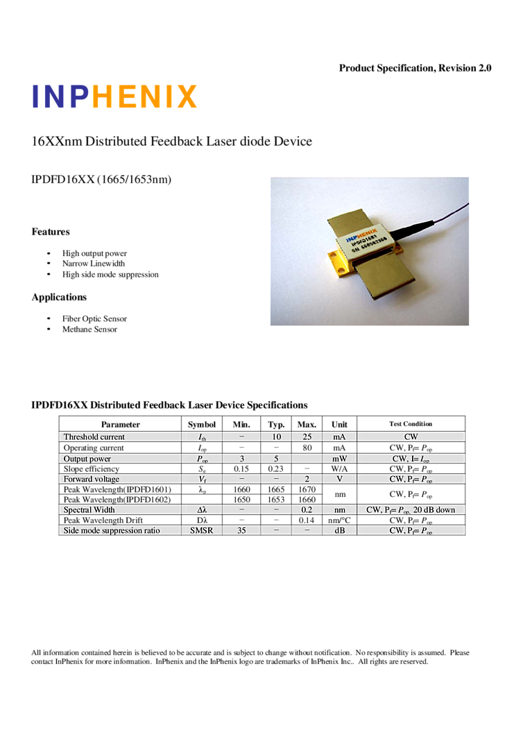 Inphenix Diode Lasers 1665nm 5mw Dfb Laser