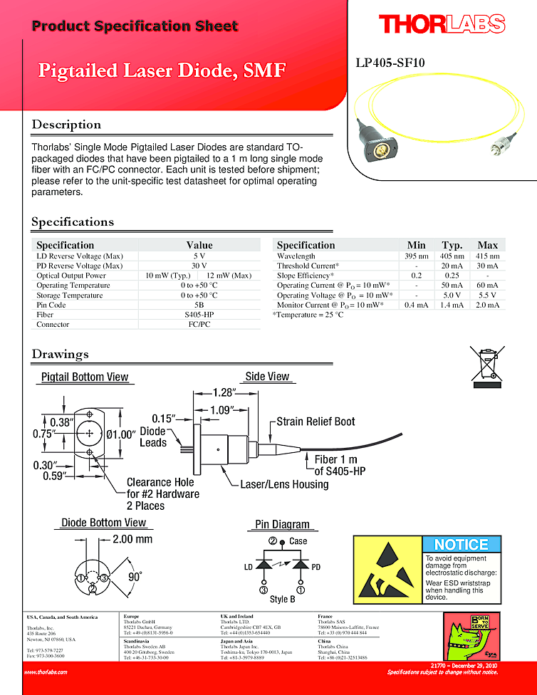 405nm Laser Diode, 10mW, Thorlabs Blue Laser, all