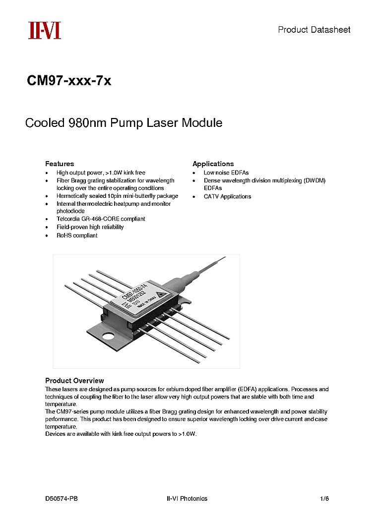 1w Laser Diode From Ii Vi 980nm Pump
