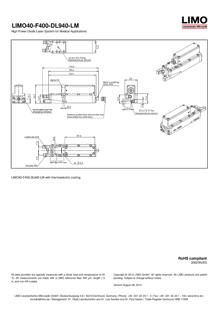 940nm 40 Watt Laser Diode Module Fiber Coupled Limo Lasers See Sketch For Symbol And Picture Of Markings On A Typical