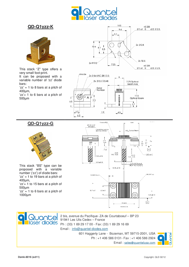 400w Laser Quantel Laser Array At 790nm 980nm