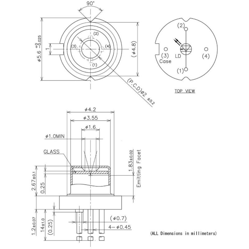 1239nm DFB Laser Diode TO-Can Drawing
