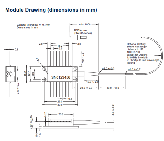 1030nm 1 watt high power laser diode module drawing