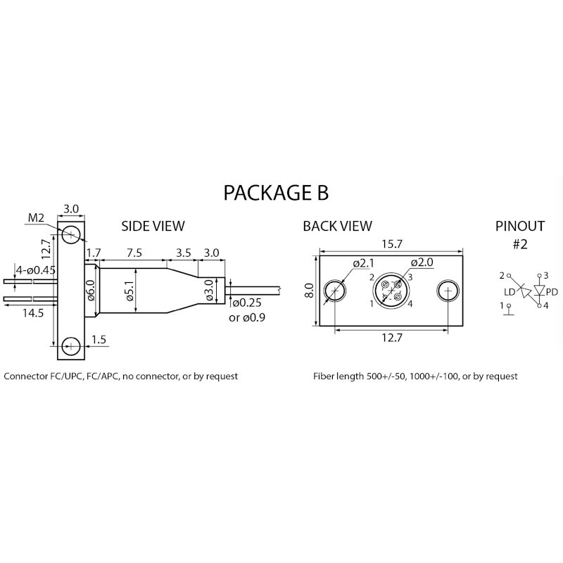 LDI-1550-FP-1-25G Laser Package Drawing