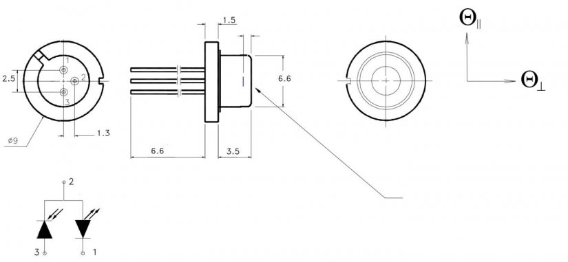 1550nm Laser Diode TO Can Drawing