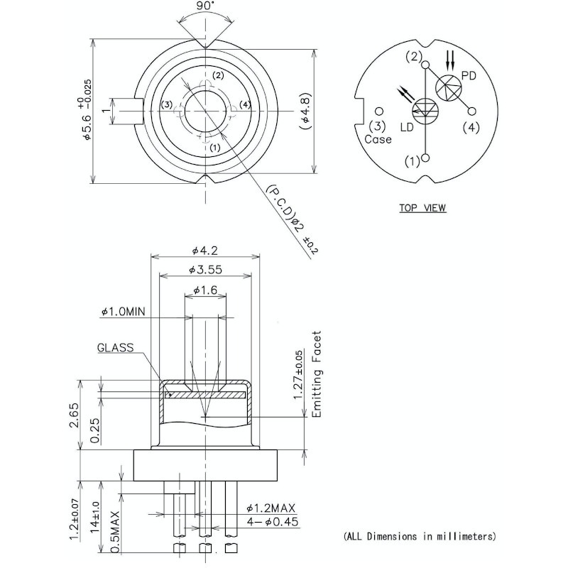 1030nm DFB Laser Diode Mechanical Drawing