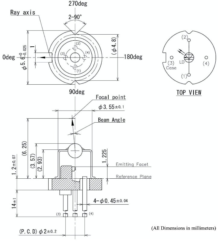 1310nm Laser Diode TO-Can Dimensions
