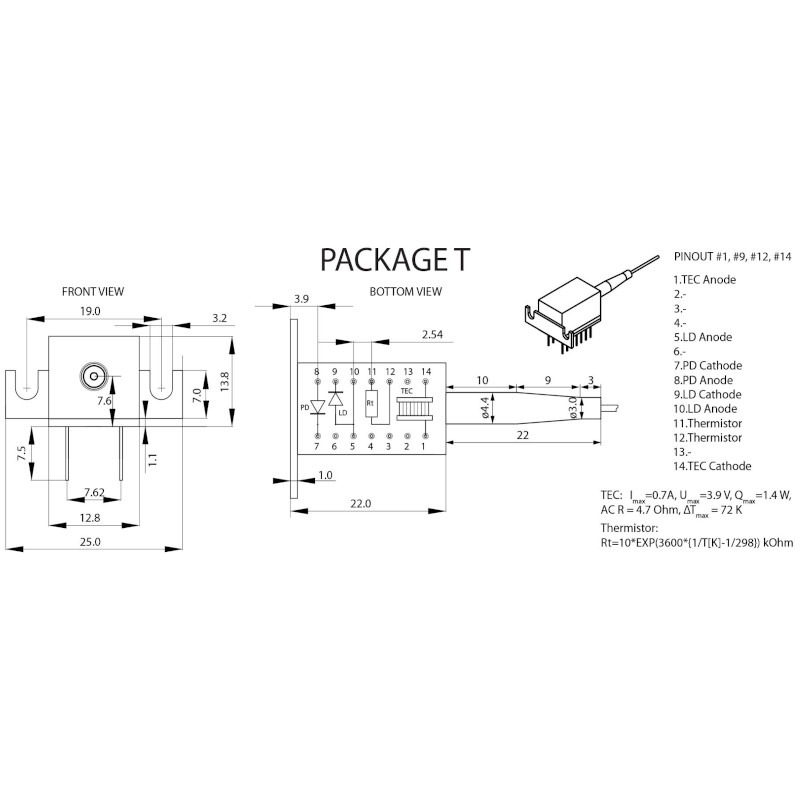 ELED-1550-1 SLED Package Mechanical Drawing