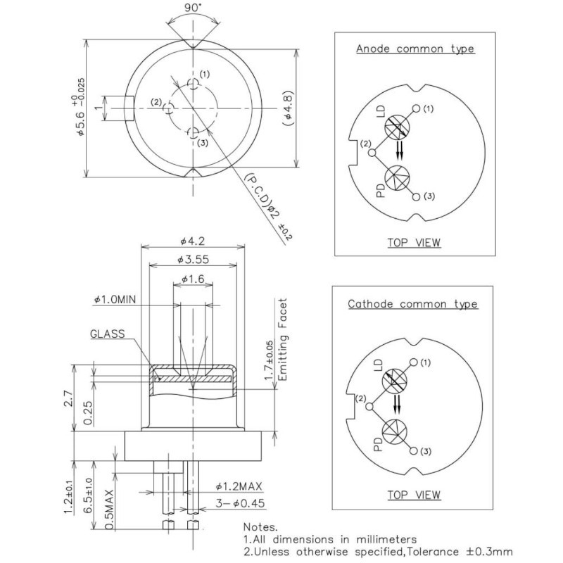660nm 100mW Fabry-Perot Laser Diode Mechanical Dimensions