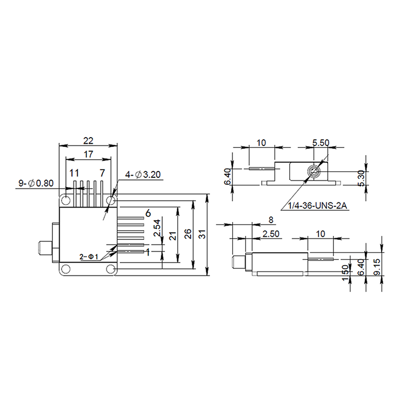 Laser Diode 808nm 7Watt Fiber Reallight Mechanical Drawing