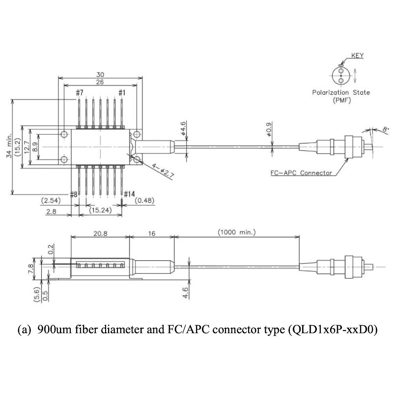 1064nm, 400mW, DFB Laser Diode Mechanical Drawing
