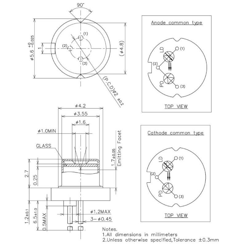 940nm TO-Can Laser Diode Mechanical Dimensions