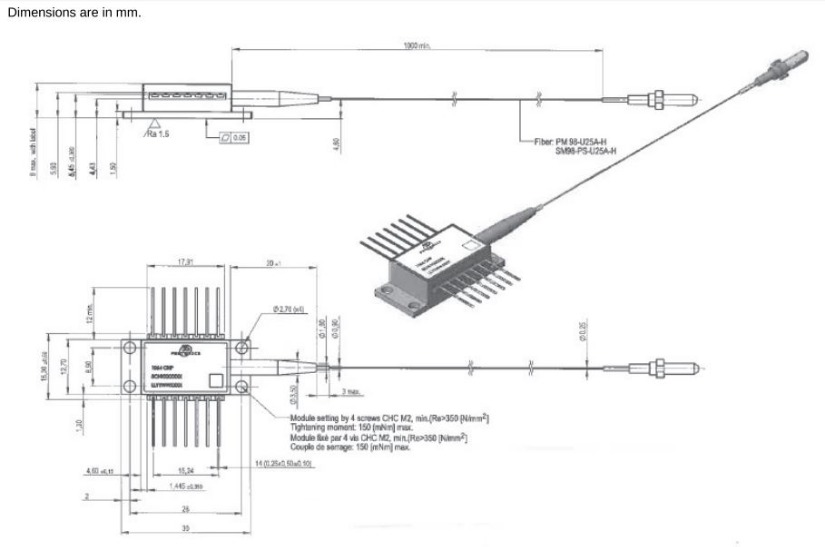 1064nm, 1 Watt Pulsed High Power Pump and Seed Laser Diode, Butterfly Package Diagram