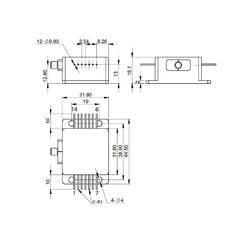 Laser diode 940nm 10W diagram