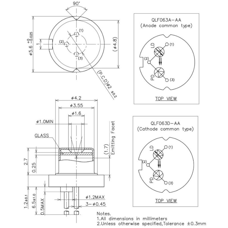 660nm 50mW Laser Diode Mechanic Drawing