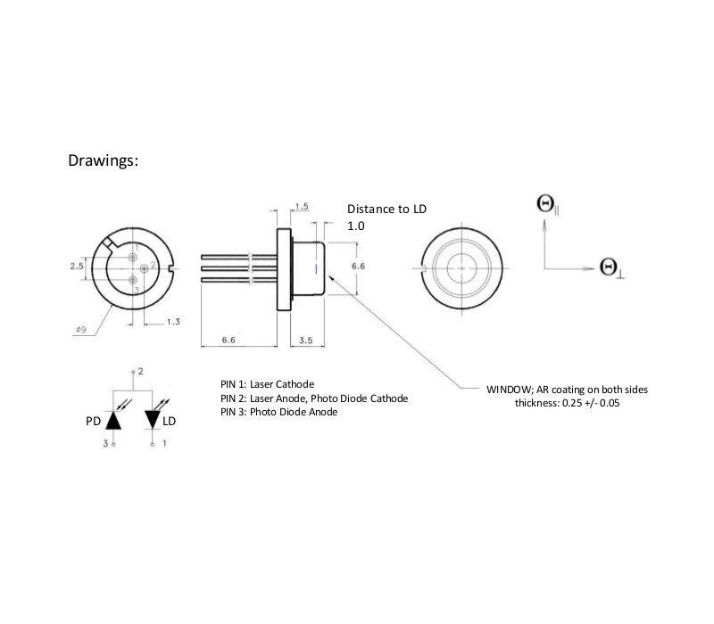 1300nm Fabry-Perot Laser Diode Drawing