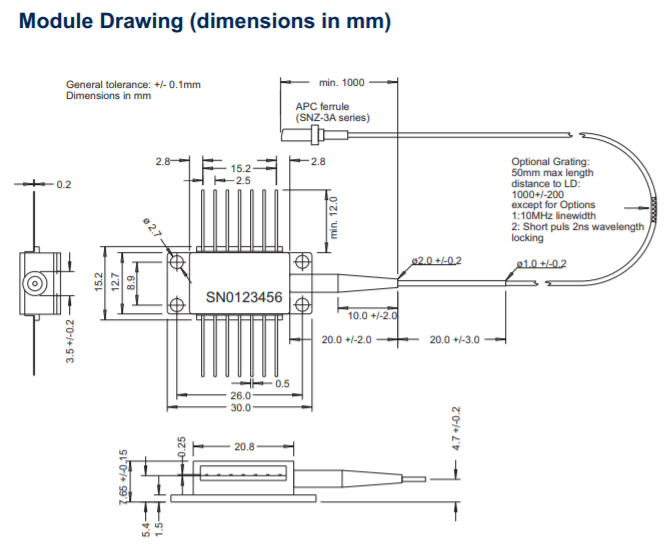 915nm Laser Diode 1w Pulsed Single Mode