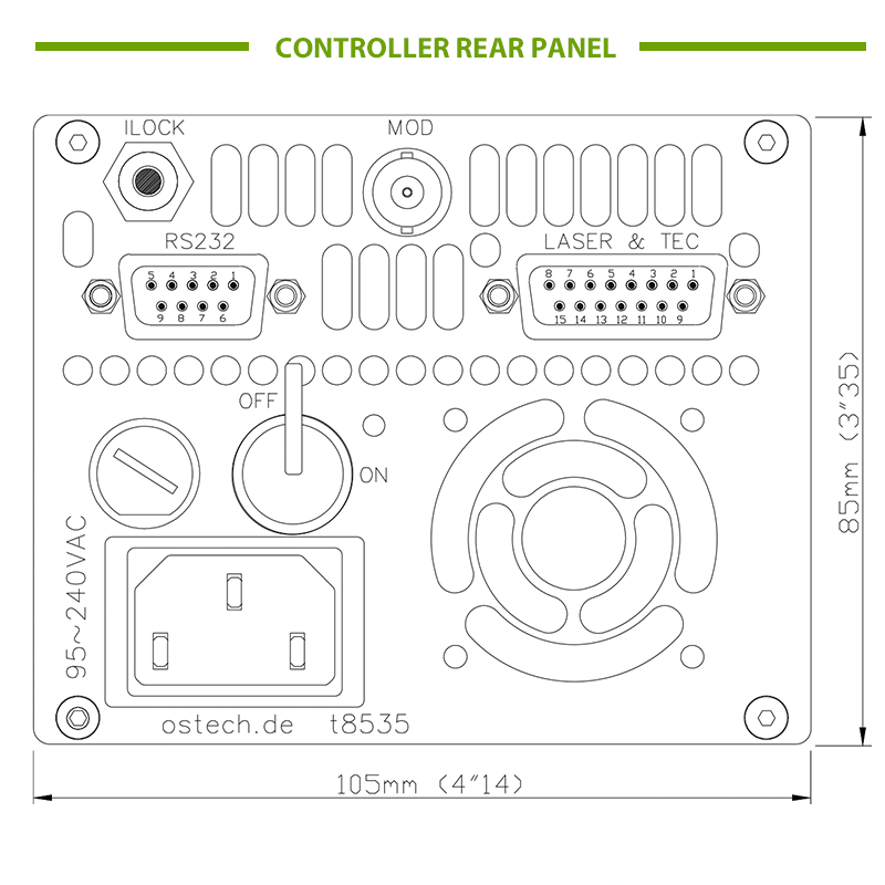 Rear Panel Diagram of Laser Diode Controller