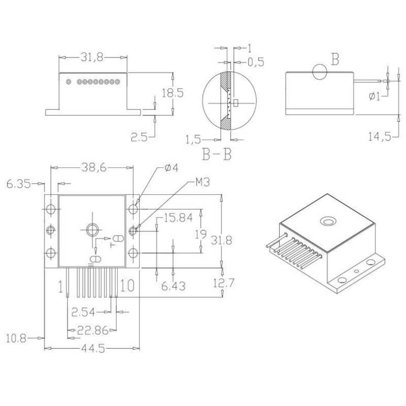 1300nm 2W HHL Laser Diode Mechanical Drawing