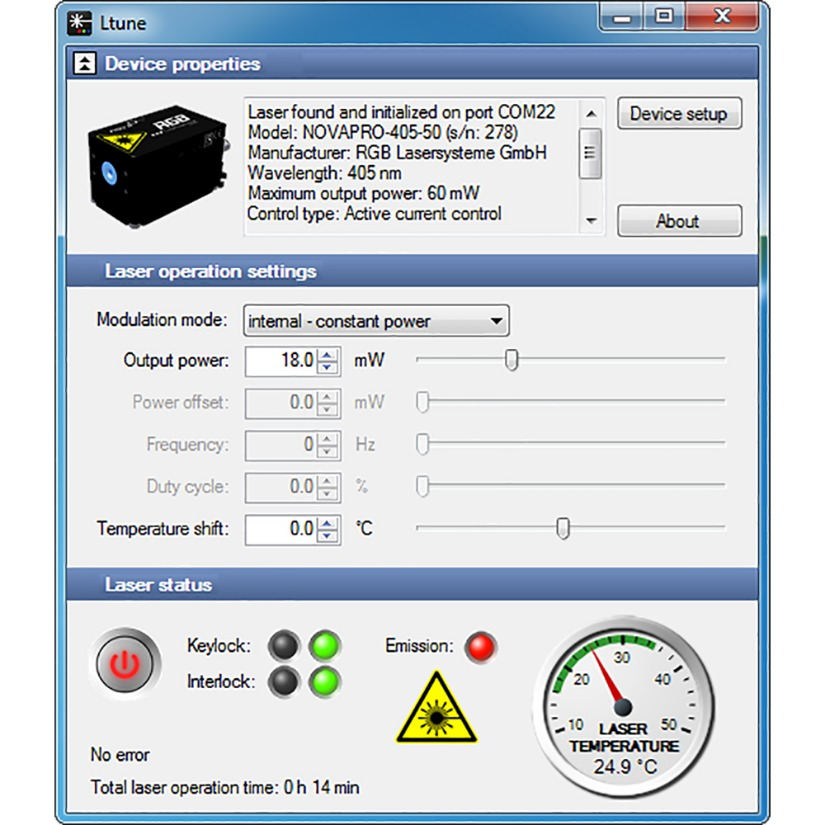Ltune Software for Control of 520nm Laser Diode