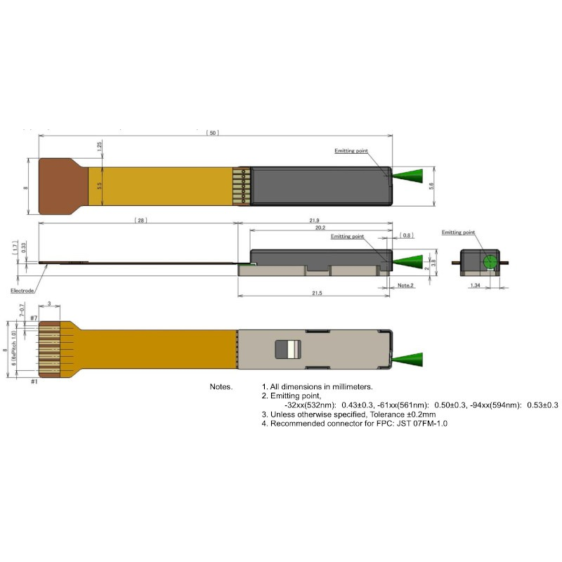 532nm DFB Laser Diode Module Mechanical Drawing