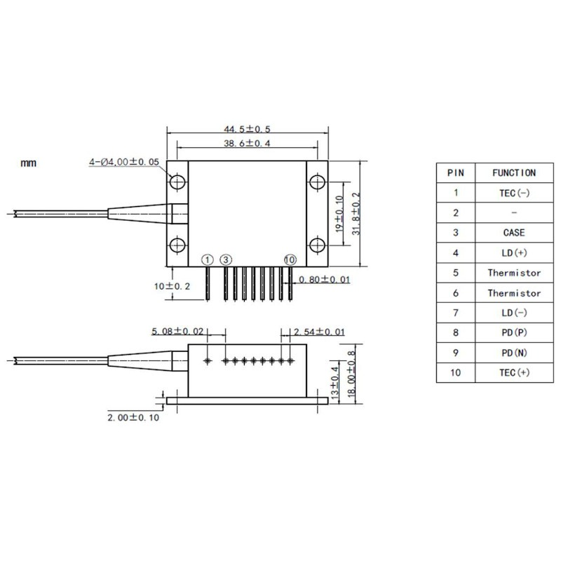 635nm, 1.8W High Power Red Laser Diode Diagram