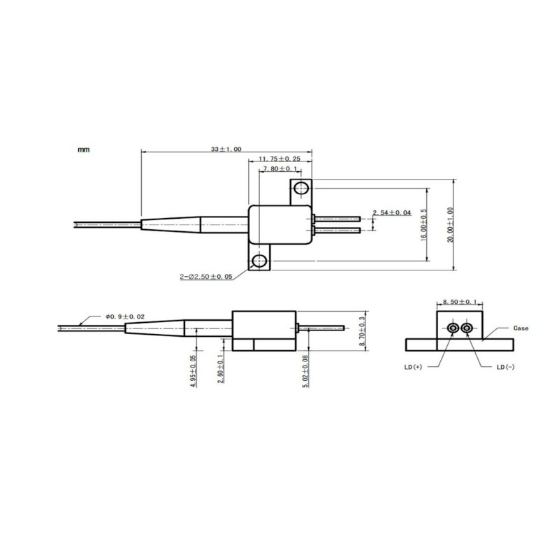 1550nm High-Power Fabry-Perot Laser Diode Mechanical Drawing