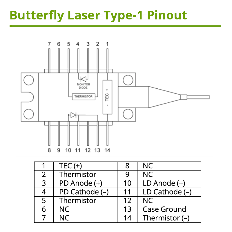 808nm Single Mode Butterfly Type 1 Pinout