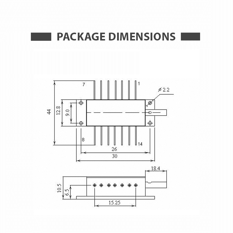 1560nm Butterfly Laser Diode Dimensions